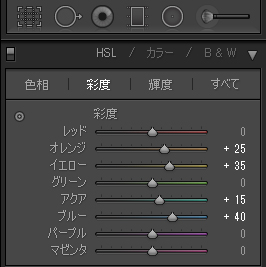 HSLカラー彩度の調整