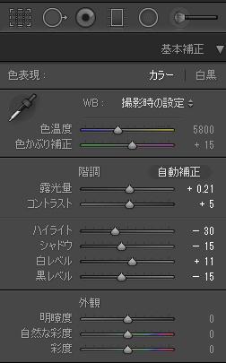 シャドウ-15、黒レベル-15